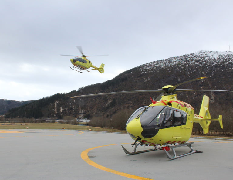 Air ambulance helicopters in Førde, Norway.
