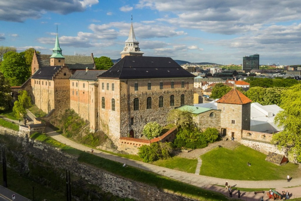 Oslo's Akershus Fortress complex from above