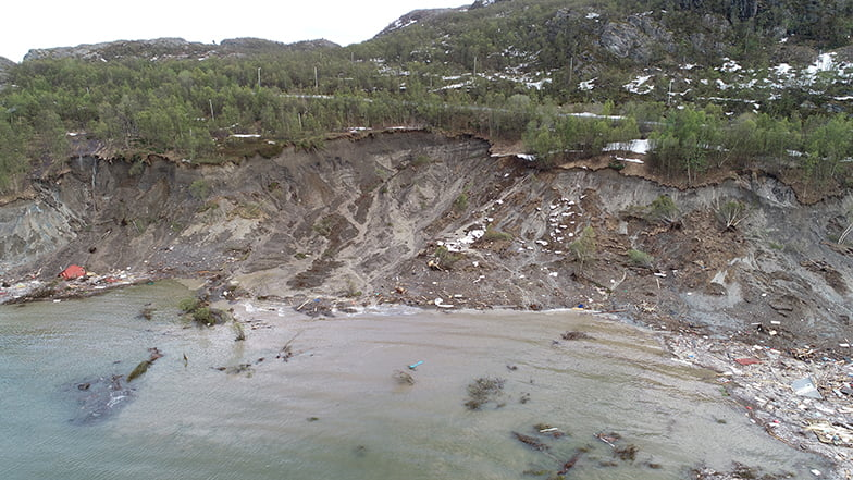 The quick clay landslide at Kråknes near Alta, Norway.