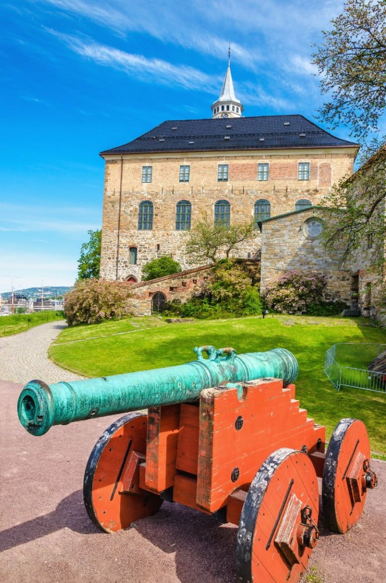 Cannon at Oslo's Akershus Fortress in Oslo