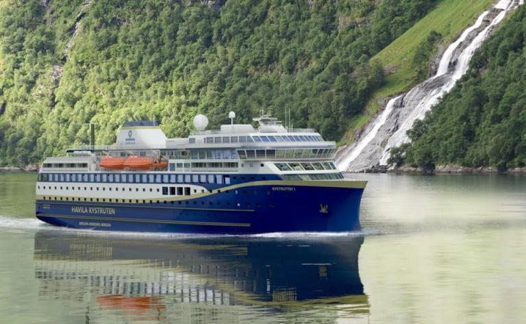 An illustration of a planned Havila Kystruten vessel to operate the Norway coastal route.