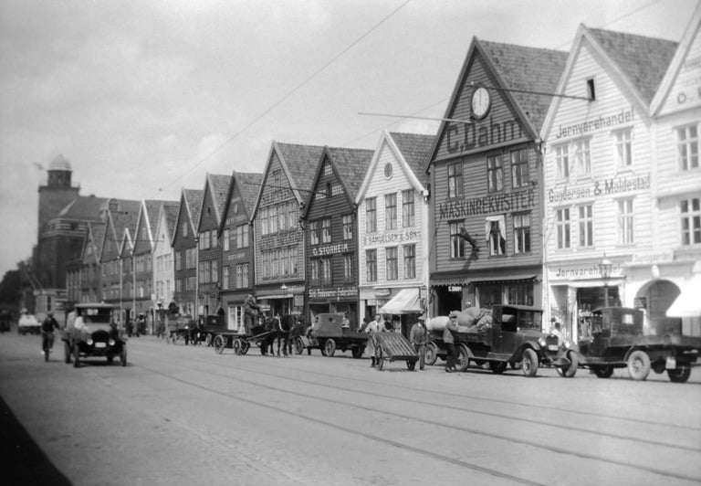 The historic Bryggen wharf in Bergen, Norway, photographed in 1930.