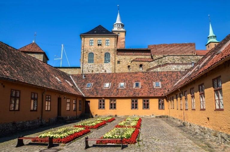 An interior courtyard at Akershus Fortress, Oslo, Norway