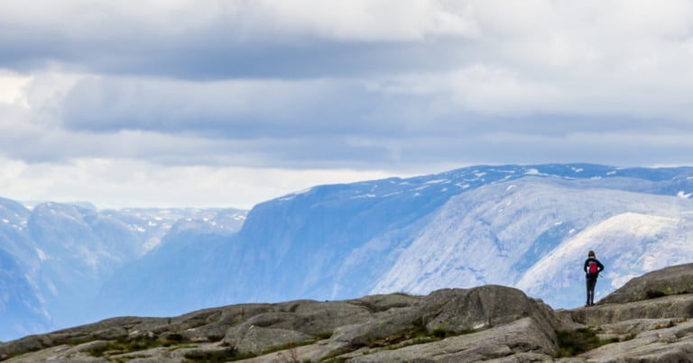 A lonely person hiking in Norway