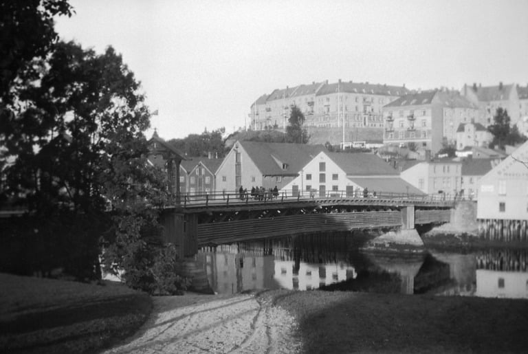 Old city bridge over Nidelven river in Trondheim.