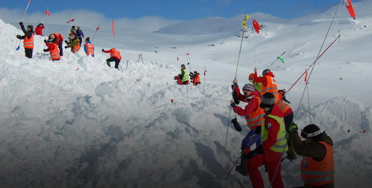 A mountain rescue training exercise in the Norwegian mountains.