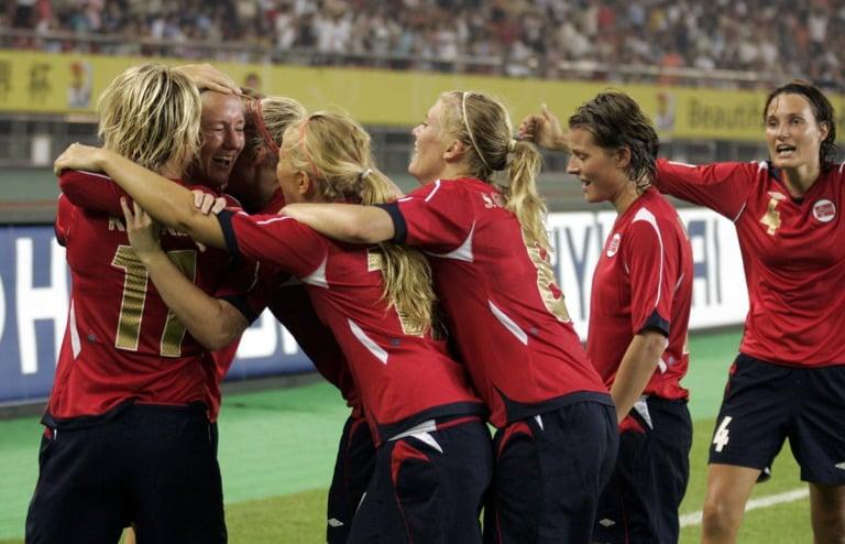 Norway women's football team celebrate a goal