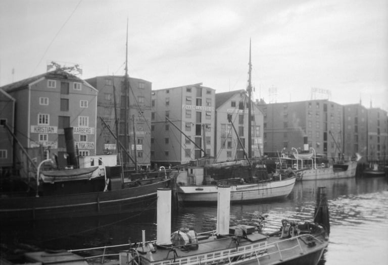 "Boats in the old harbour, Trondheim ""Brygge""."