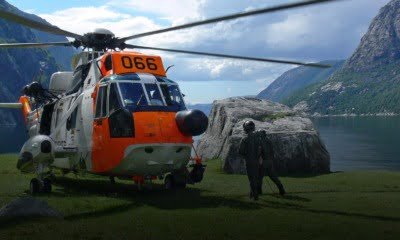 Emergency search and rescue helicopter in Norway