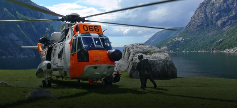Sea King search and rescue helicopter in Norway