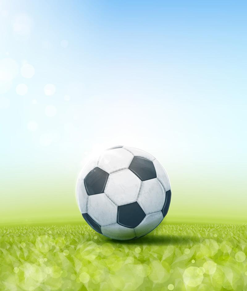 Soccer ball on a grass pitch