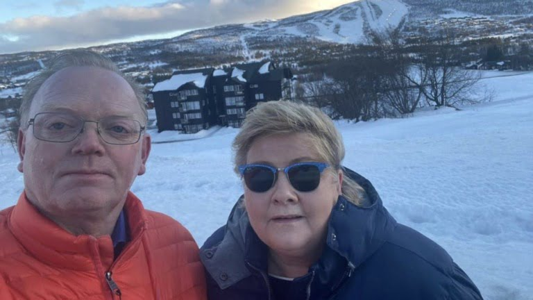 Norway prime minister Erna Solberg and her husband in Geilo
