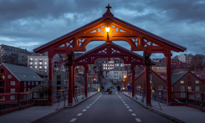 Trondheim old town bridge at dusk