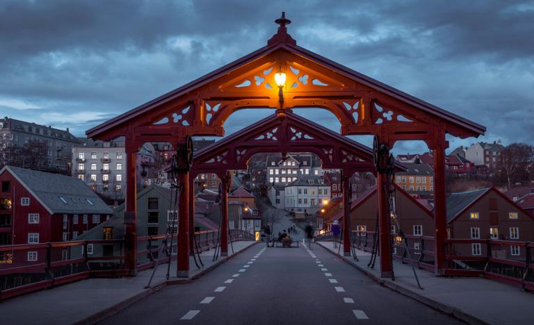 Trondheim old town bridge at dusk