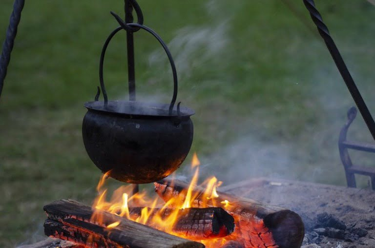 Viking cooking pot on a fire