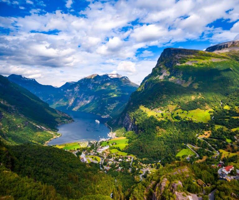 Aerial view of Norway's Geirangerfjord