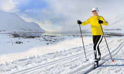 Cross-country skier in the Norwegian landscape