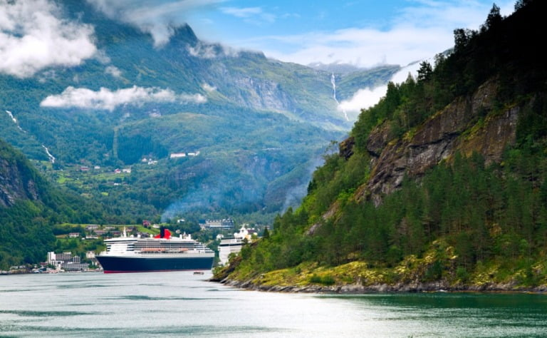 A cruise ship in Norway's Geirangerfjord.