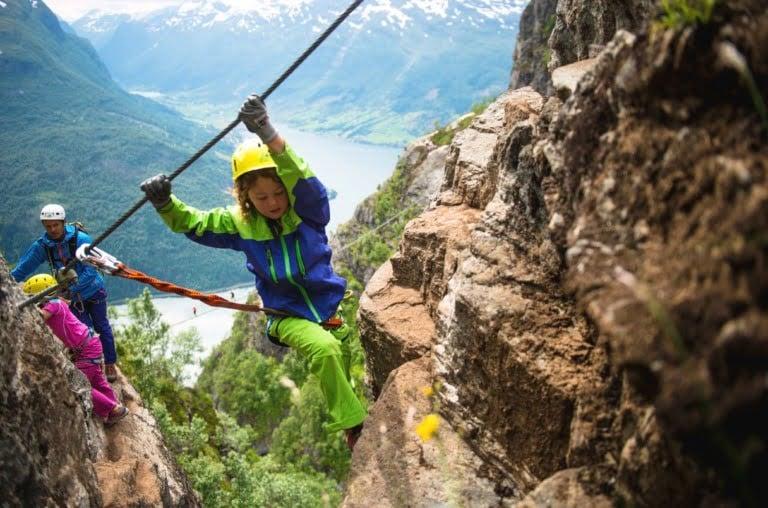 A family mountain climb in Loen, Norway