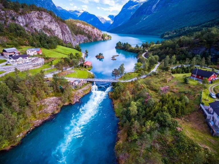 The mountain scenery of Loen, Norway