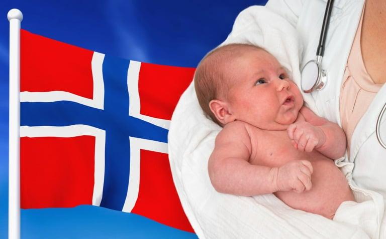 Newborn baby in Norway.