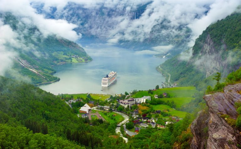 The Norway tourism hotspot Geiranger and Geirangerfjord