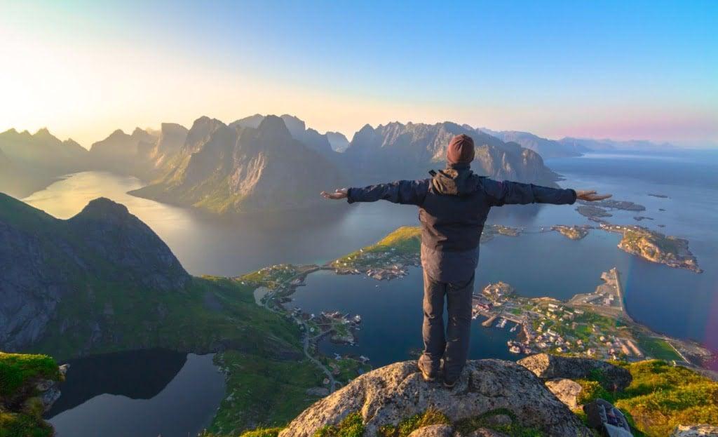 Norwegian citizen looking at Lofoten Islands