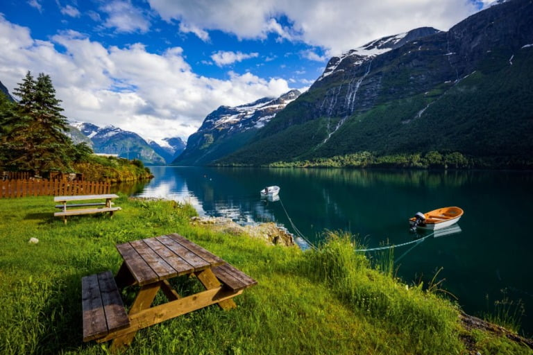 The peaceful water of Lovatnet in fjord Norway