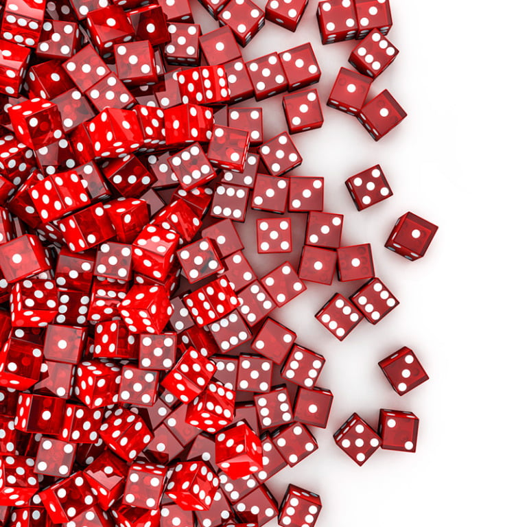 A bunch of red dice.