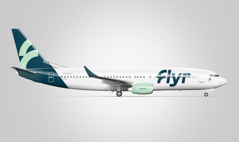 The smart green and white livery of Flyr.
