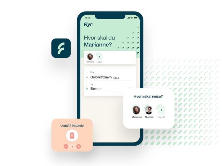 Flyr booking app screenshot.