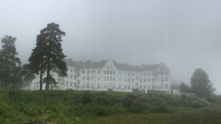 Harastølen in Norway on a foggy day.