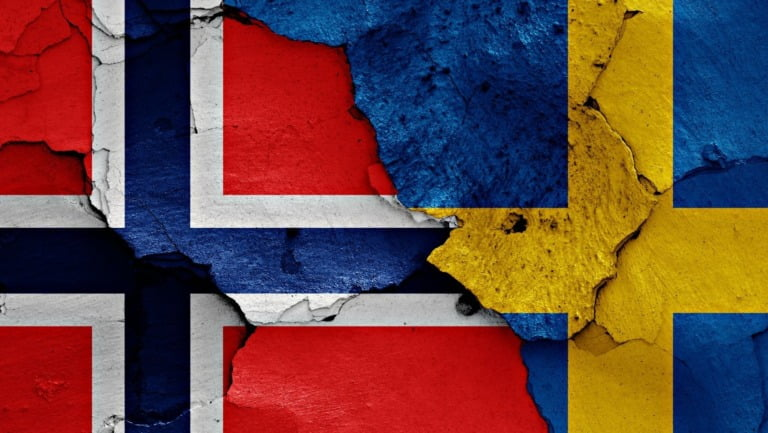 Illustration of Norway Sweden flags
