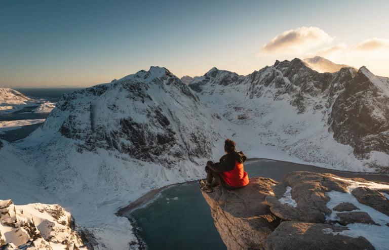 Norwegian hiker in the Lofoten islands of Northern Norway