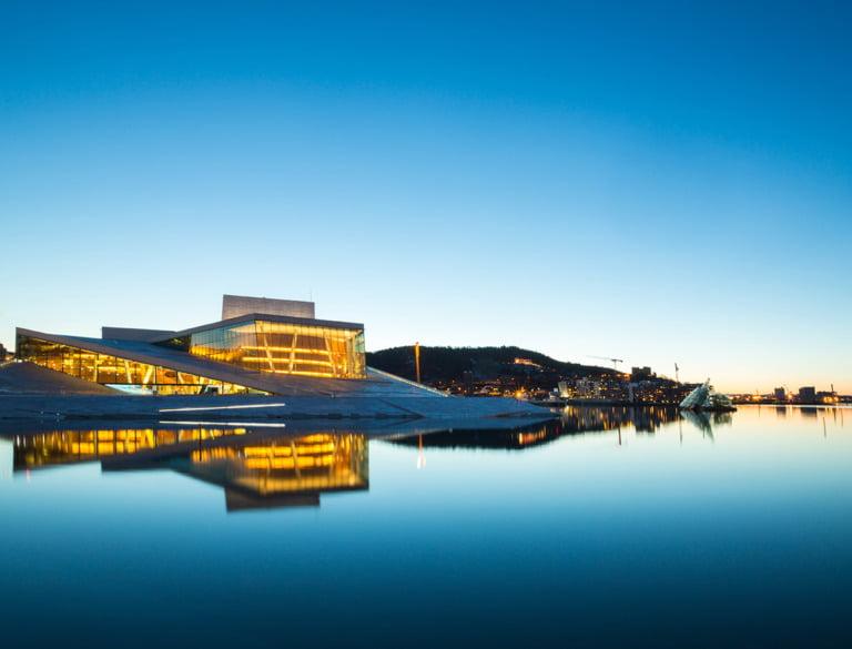 Oslo Opera House in blue light.