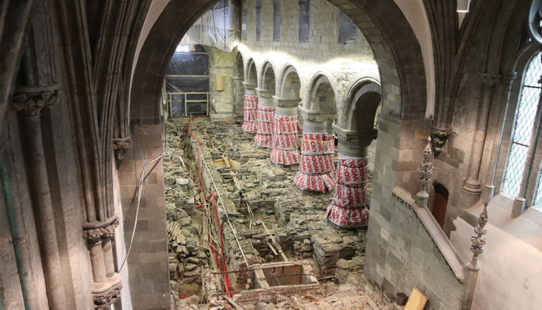 The crawl space in Stavanger Cathedral is being examined before a new floor is laid in the church.