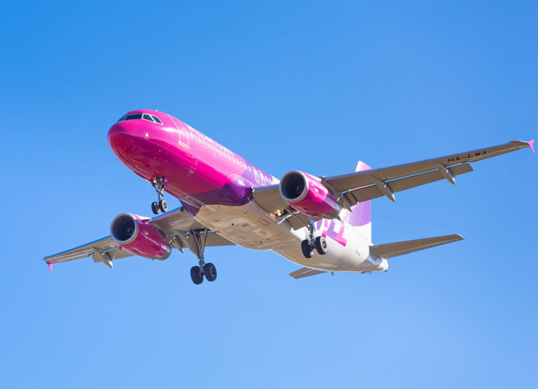 A Wizz Air airline flying