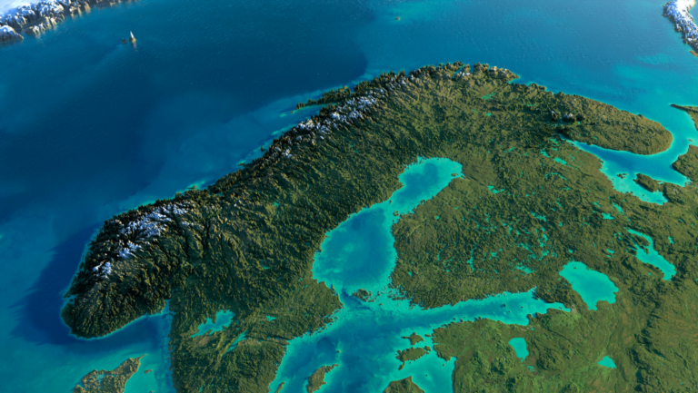 Terrain map illustration of the country of Norway