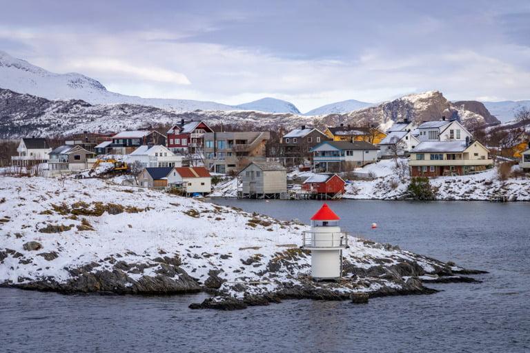 A coastal scene of Brønnøysund, Norway