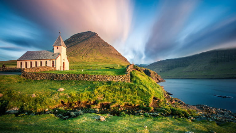 Landscape and church from the Faroe Islands.