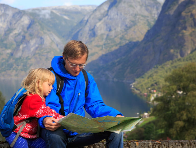 Father and daughter on a hiking trip in Norway