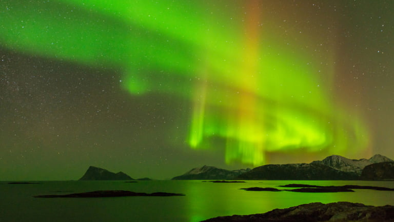 Green northern lights in Northern Norway