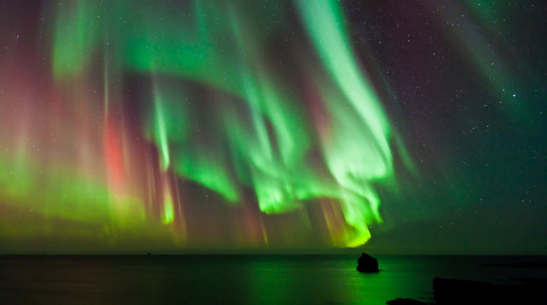 An intense display of the northern lights in Norway