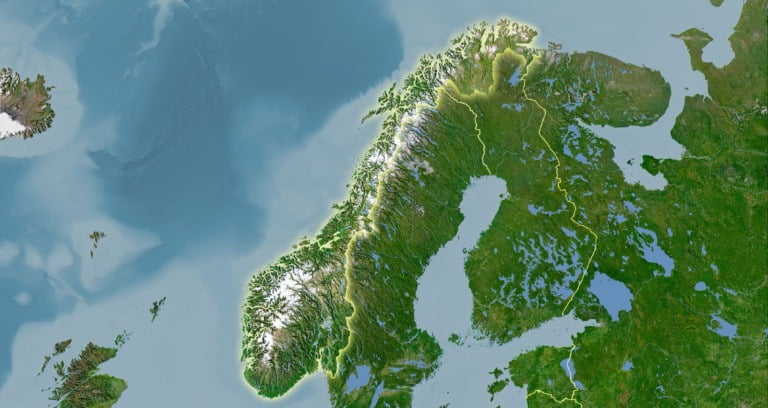 Illustrated satellite map of Norway