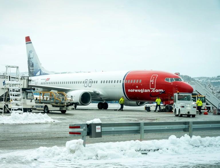 Norwegian Air airliner in the winter