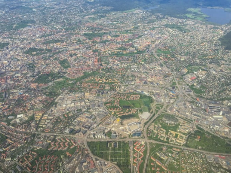 Photo of Oslo from an airplane.