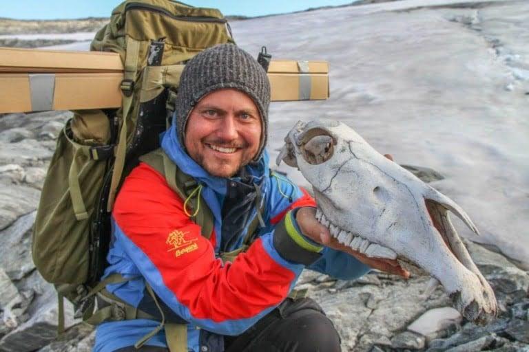 Animal remains on the Norwegian Viking mountain pass.