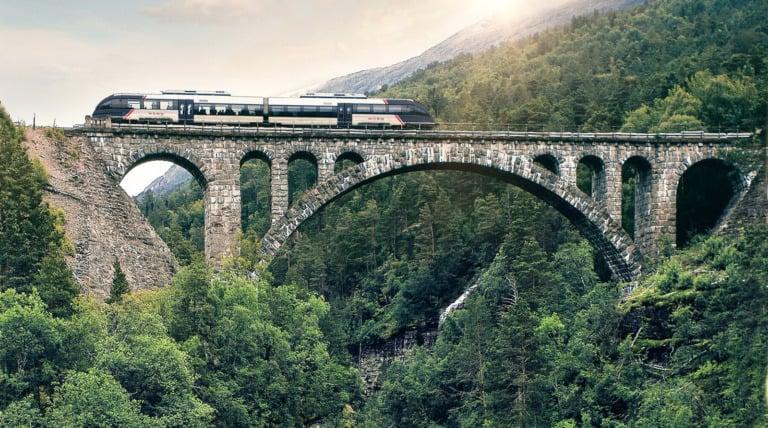 A famous bridge on the Rauma Railway in Norway.