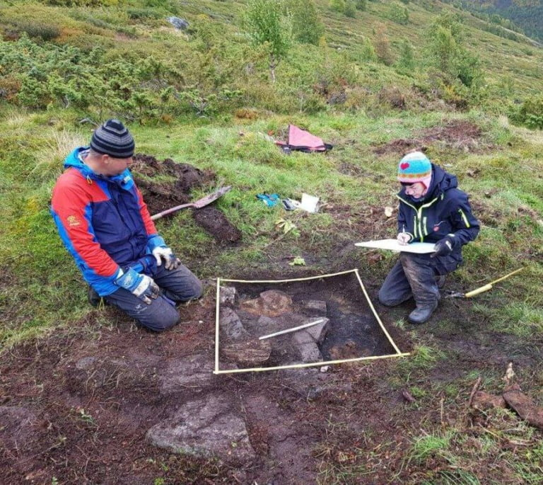 The test excavation at the Viking settlement in the Norwegian mountains