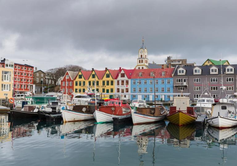 The harbour of Torshavn in the Faroe Islands